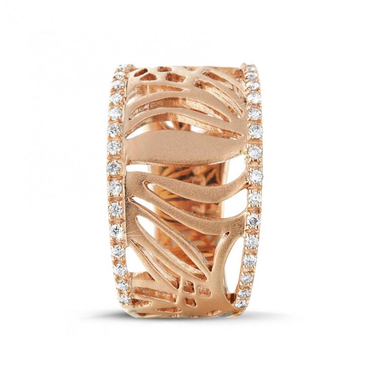 0.17 Karat diamantener Designring aus Rotgold
