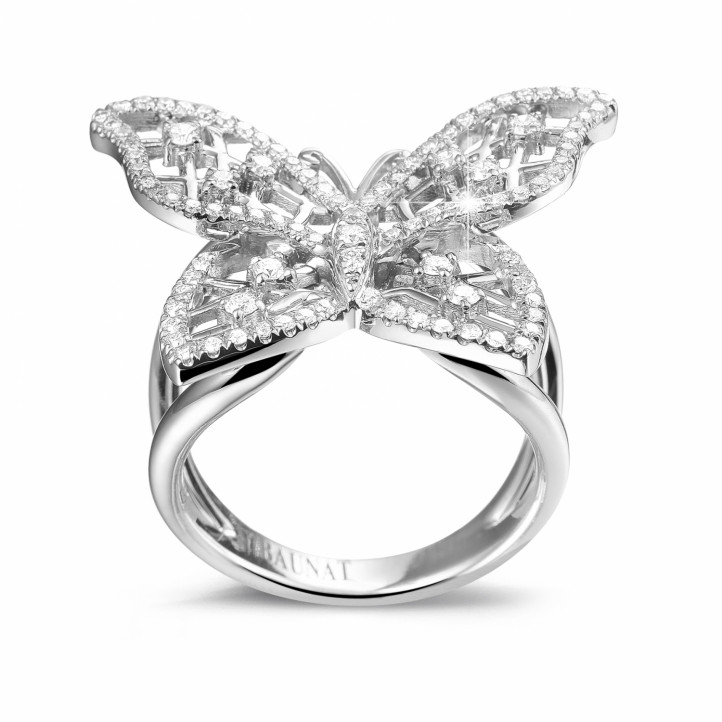 0.75 Karat Diamant Design Schmetterlingring aus Platin