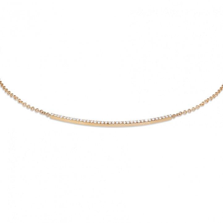 0.30 Karat feine Diamant Halskette aus Rotgold