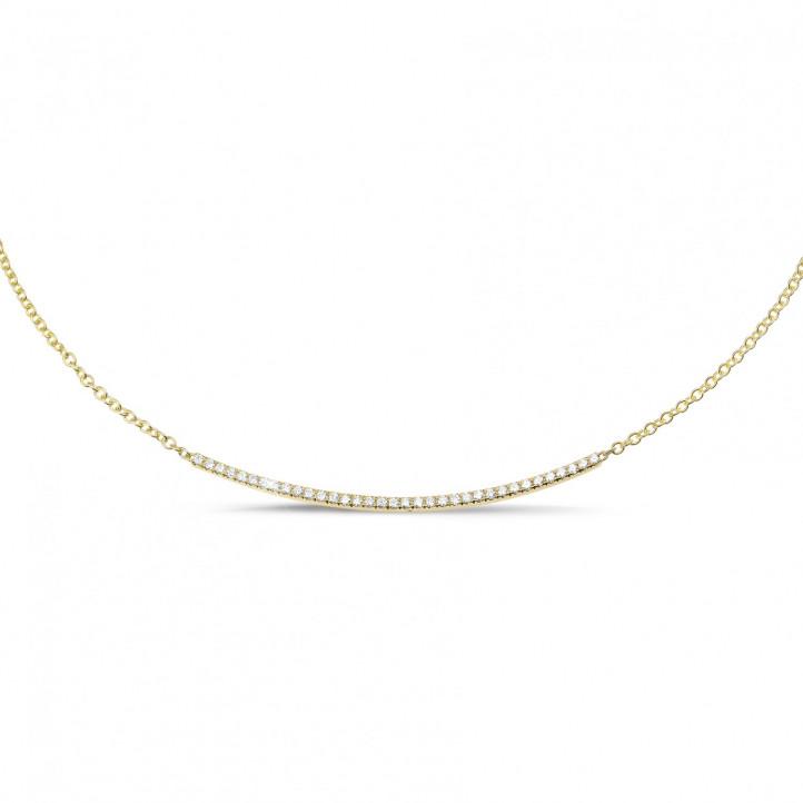 0.30 Karat feine diamantene Halskette aus Gelbgold
