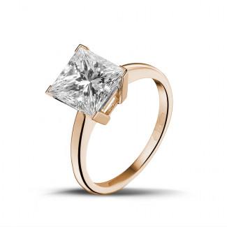Verlobung - 3.00 Karat Solitärring in Rotgold mit Prinzessdiamanten