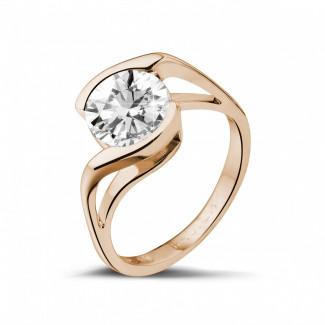 2.00 Karat diamantener Solitärring aus Rotgold