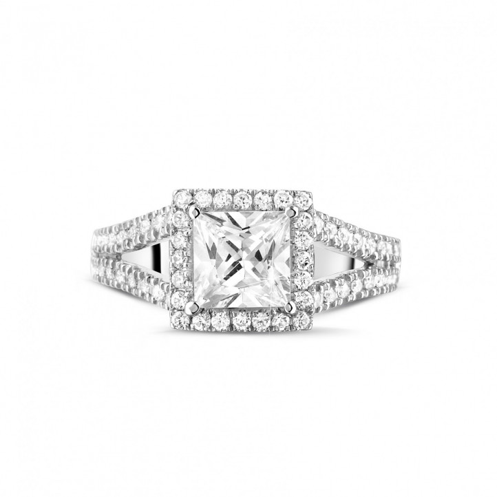 1.20 Karat Solitärring aus Weißgold mit Prinzessdiamanten und kleinen Diamanten