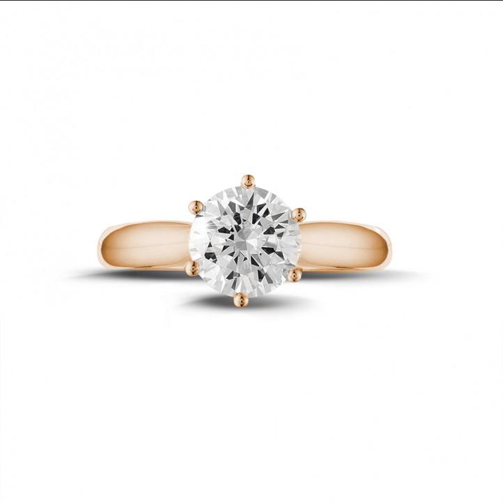 1.50 Karat diamantener Solitärring aus Rotgold