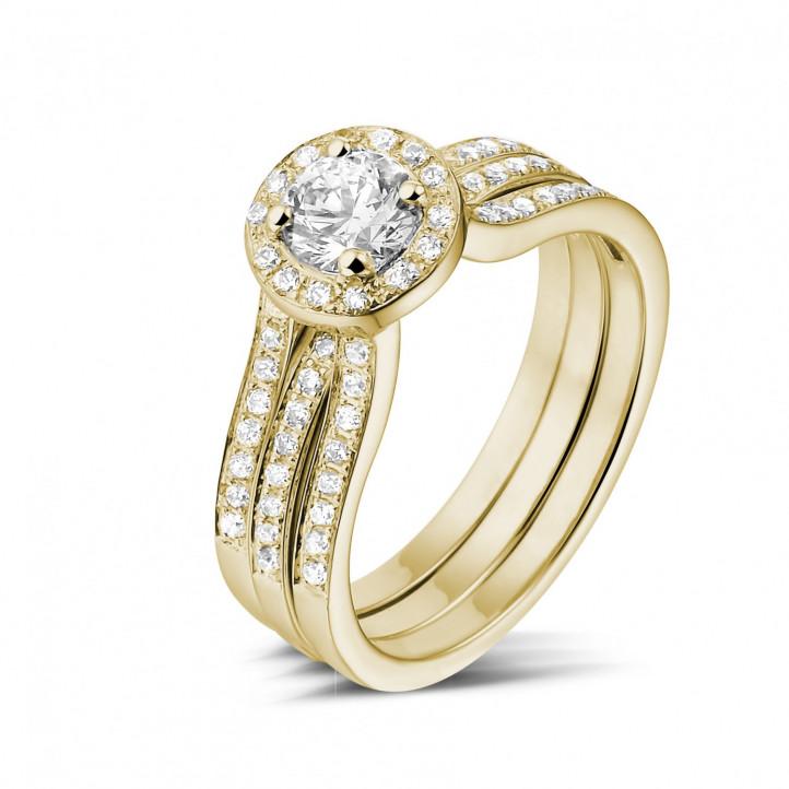 0.50 Karat Diamant Solitärring aus Gelbgold mit kleinen Diamanten