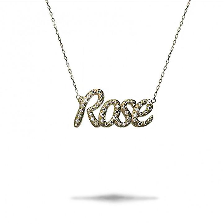 Personalisierter Anhänger mit Name aus 18Kt Gold und runden Diamanten
