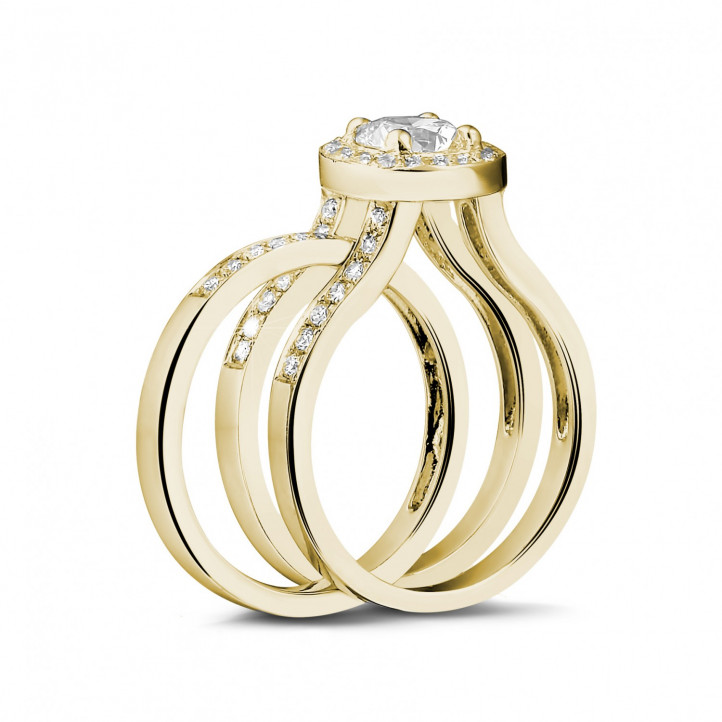 0.70 Karat Diamant Solitärring aus Gelbgold mit kleinen Diamanten