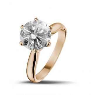 Verlobung - 3.00 Karat diamantener Solitärring aus Rotgold