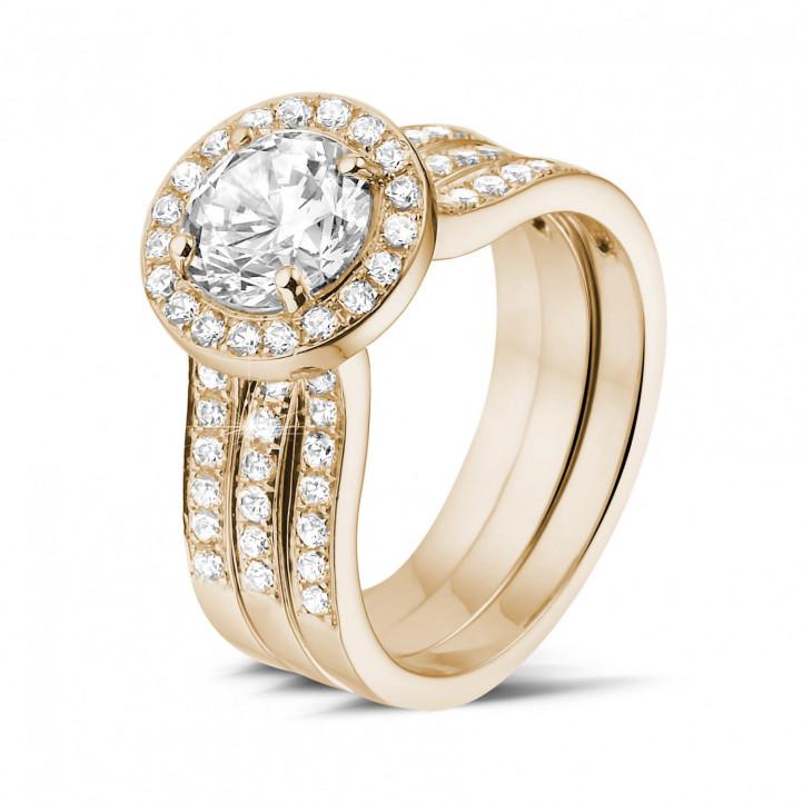 1.20 Karat diamantener Solitärring aus Rotgold mit kleinen Diamanten