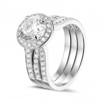 1.50 Karat Diamant Solitärring aus Weißgold mit kleinen Diamanten