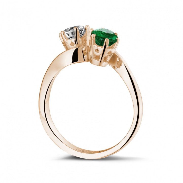 Toi & Moi Ring aus Rotgold mit Smaragd und runden Diamanten
