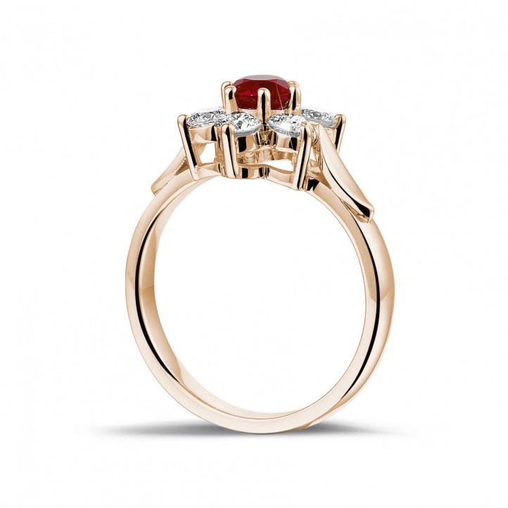 Blumenring aus Rotgold mit rundem Rubin und kleinen Diamanten