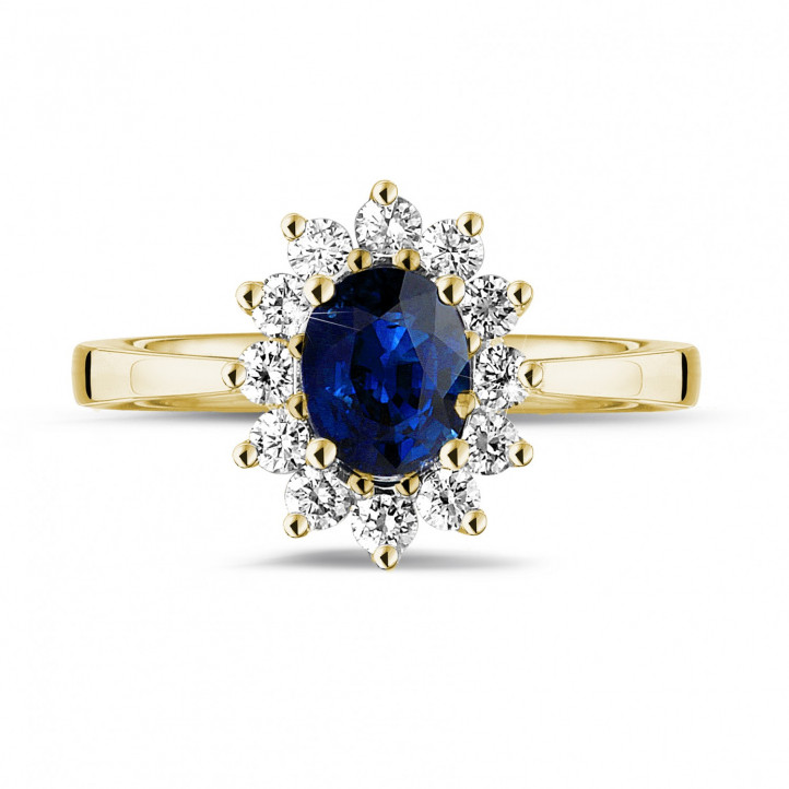 Entourage Ring aus Gelbgold mit ovalem Saphir und runde Diamanten
