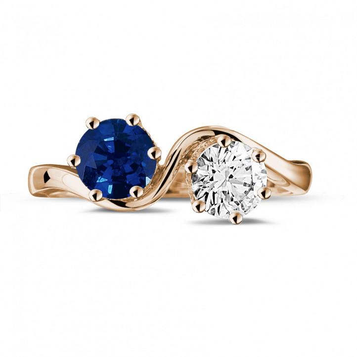 Toi & Moi Ring aus Rotgold mit Saphir und runden Diamanten