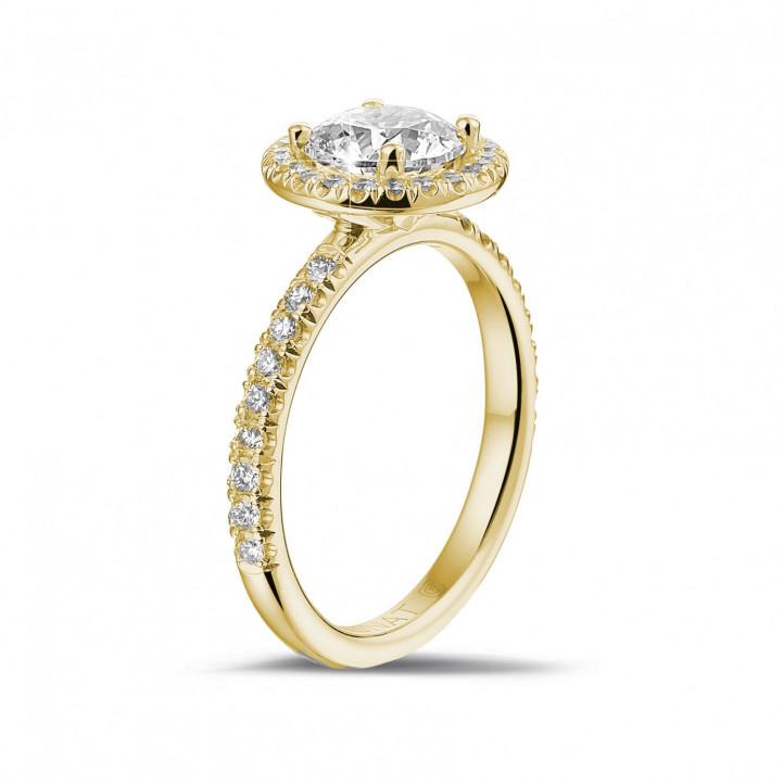 1.20 Karat Halo Solitärring aus Gelbgold mit runden Diamanten
