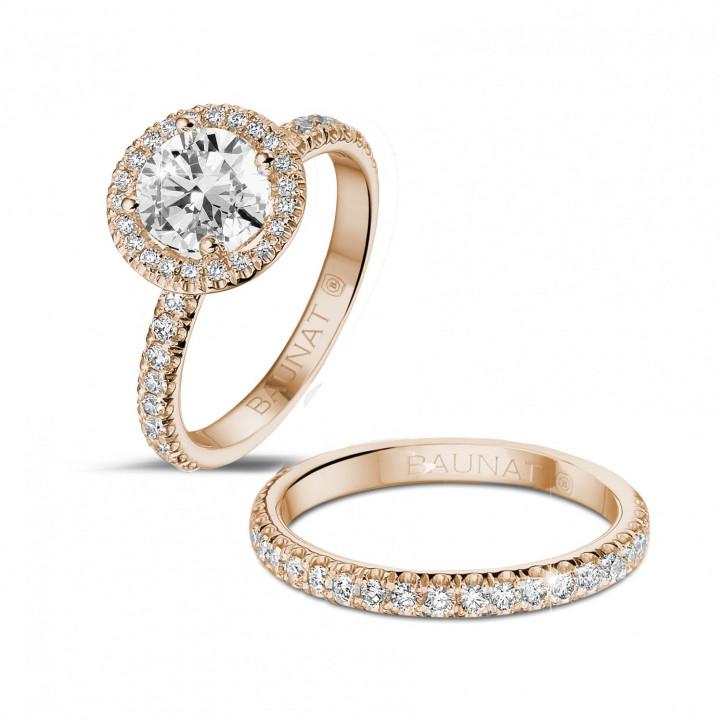 1.20 Karat Halo Solitärring aus Rotgold mit runden Diamanten