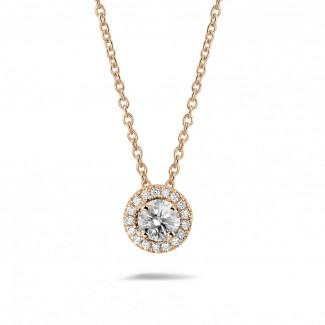 Romantisch - 0.50 Karat diamantene Halo Halskette aus Rotgold