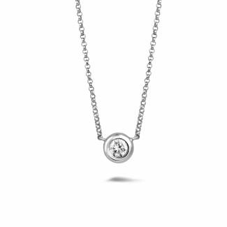 Diamanthalsketten - 0.50 Karat diamantener Anhänger in Zargenfassung aus Weißgold