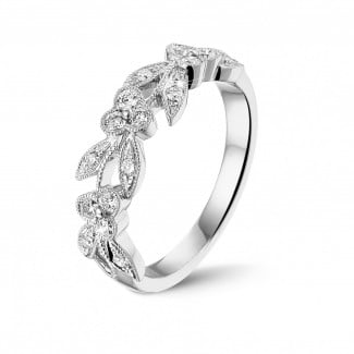 Diamant Memoire Ring aus Weißgold - 0.32 Karat Memoire Ring mit kleinen Blättern aus Weißgold mit runden Diamanten