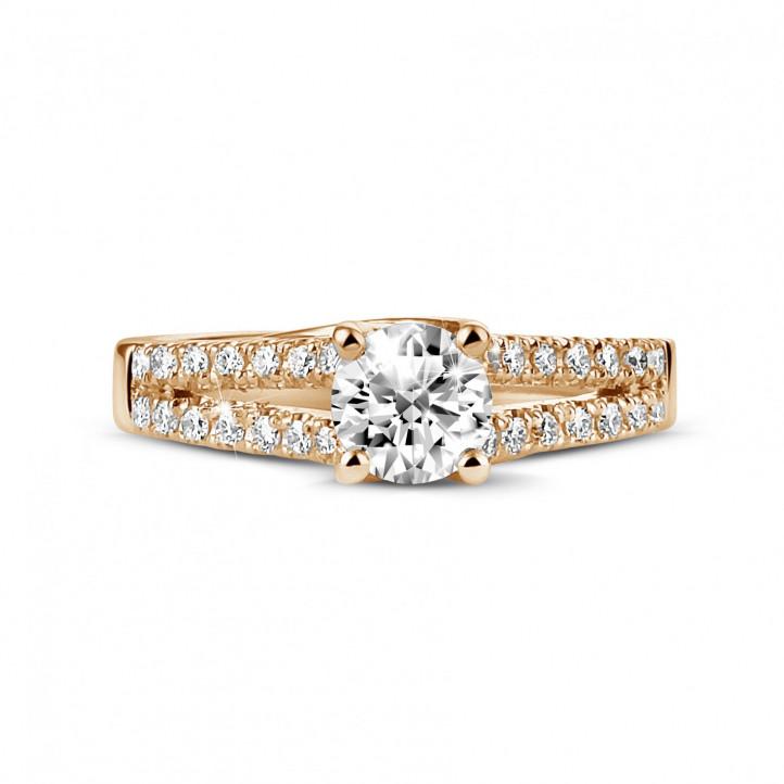 0.50 Karat diamantener Solitärring aus Rotgold mit kleinen Diamanten