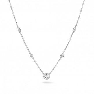 Neuheiten - 0.45 Karat diamantene Halskette in Zargenfassung aus Weißgold