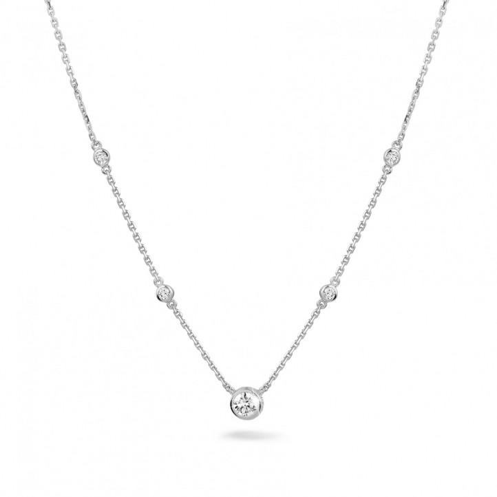 0.45 Karat diamantene Halskette in Zargenfassung aus Weißgold