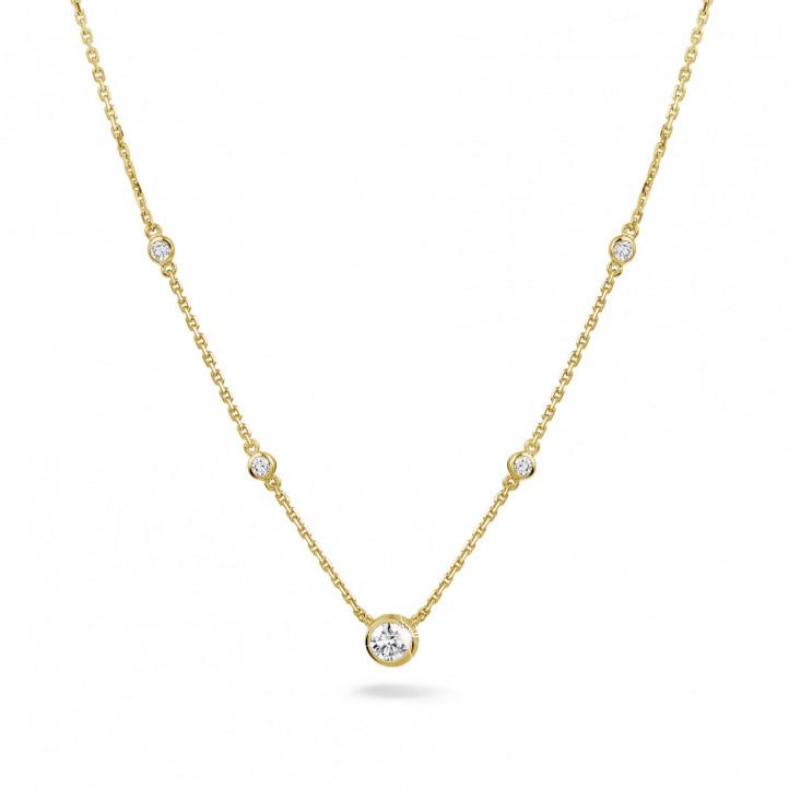 0.45 Karat diamantene Halskette in Zargenfassung aus Gelbgold