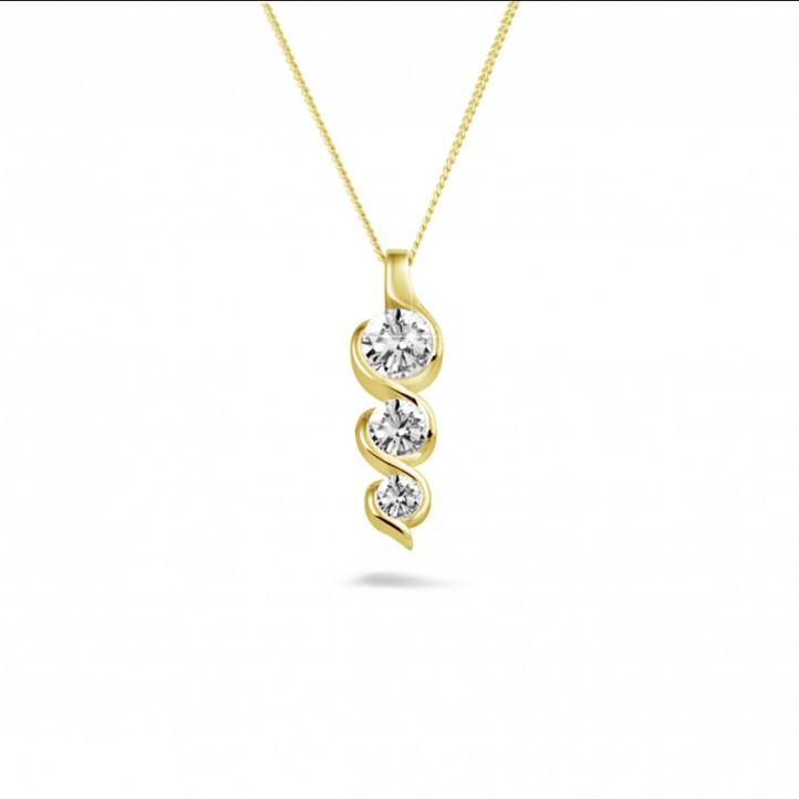 0.85 Karat Trilogie Diamantanhänger aus Gelbgold