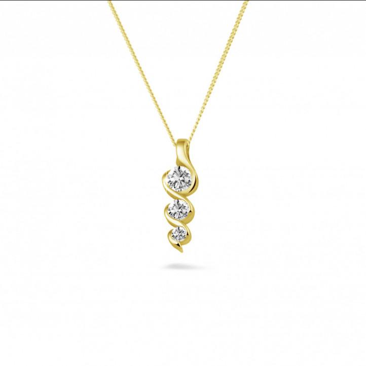0.38 Karat Trilogie Diamantanhänger aus Gelbgold
