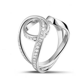 Diamantringe aus Weißgold - 0.55 Karat diamantener Design Ring aus Weißgold
