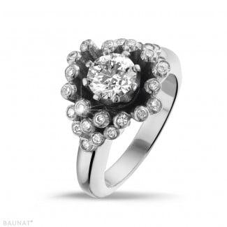 Diamantene Verlobungsringe aus Weißgold - 0.90 Karat diamantener Design Ring aus Weißgold