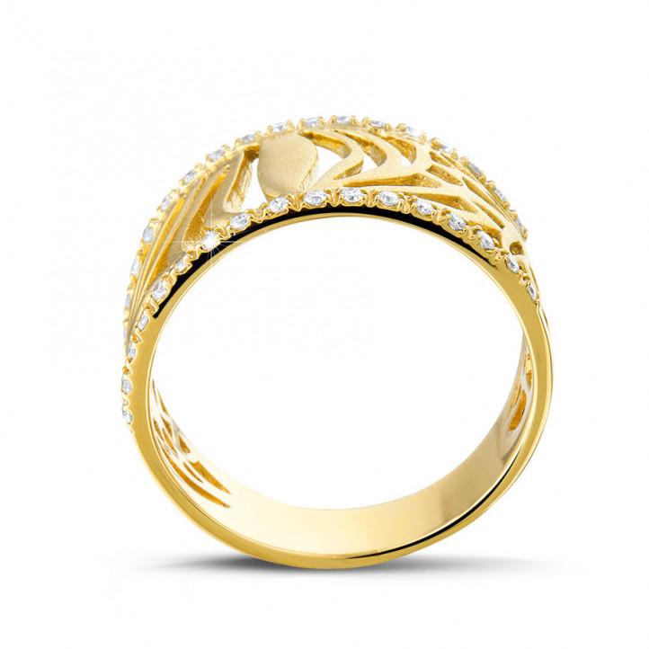 0.17 Karat diamantener Designring aus Gelbgold