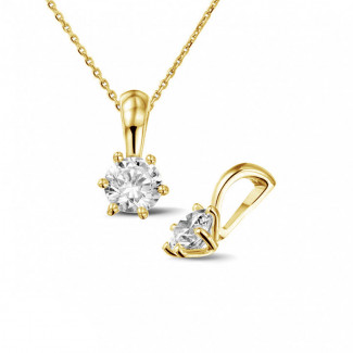 0.50 Karat Solitär Anhänger aus Gelbgold mit rundem Diamanten