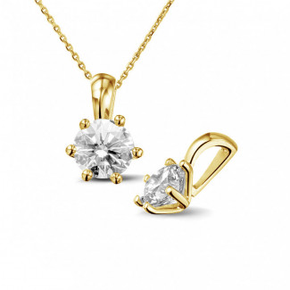 Halsketten - 1.00 Karat Solitär Anhänger aus Gelbgold mit rundem Diamanten