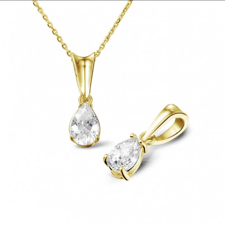 0.50 Karat Solitär Anhänger aus Gelbgold mit tropfenförmigem Diamant