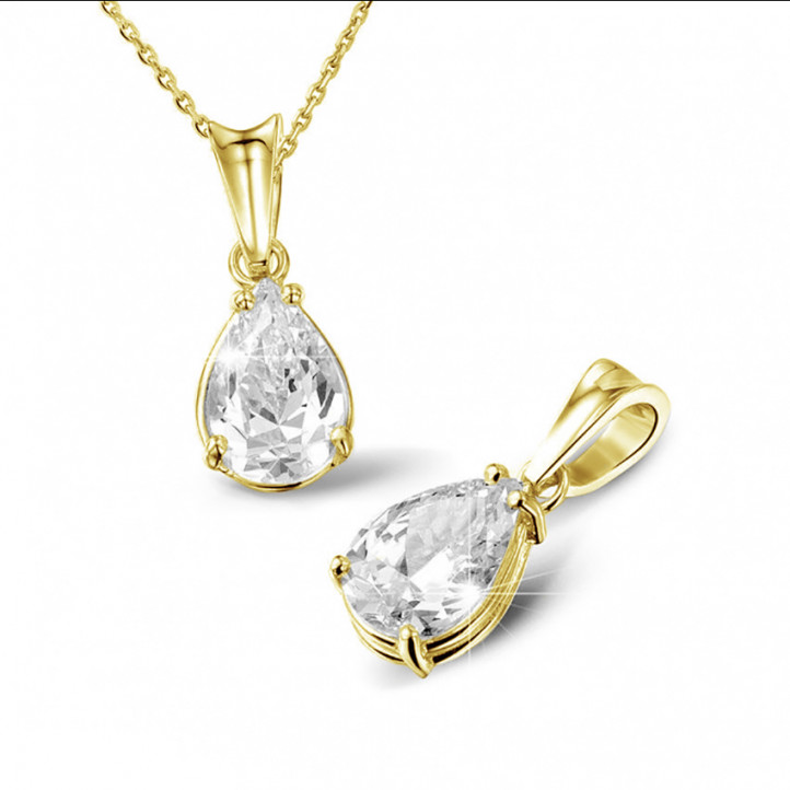 1.25 Karat Solitär Anhänger aus Gelbgold mit birnenförmigem Diamanten