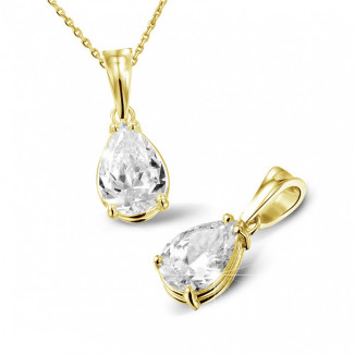 2.00 Karat Solitär Anhänger aus Gelbgold mit birnenförmigem Diamanten