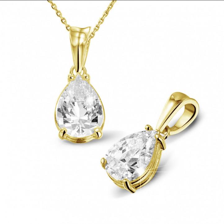 2.50 Karat Solitär Anhänger aus Gelbgold mit birnenförmigem Diamanten