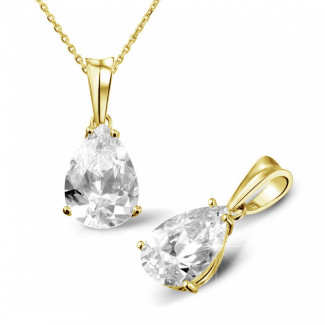 3.00 Karat Solitär Anhänger aus Gelbgold mit birnenförmigem Diamanten