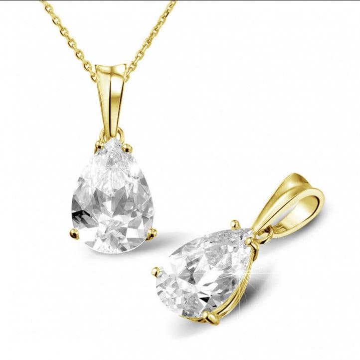 3.00 Karat Solitär Anhänger aus Gelbgold mit Tropfen Diamant
