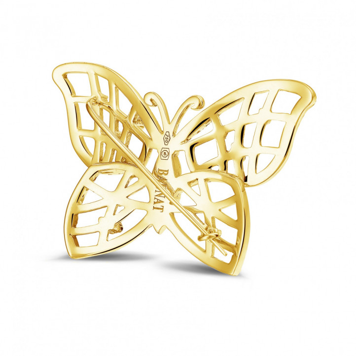0.90 Karat diamantene Design Schmetterlingbrosche aus Gelbgold