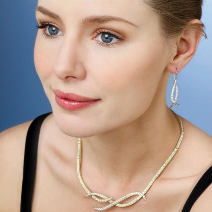 8.60 Karat diamantene Design Halskette aus Gelbgold