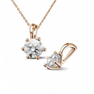 Halsketten - 1.00 Karat Solitär Anhänger aus Rotgold mit rundem Diamant
