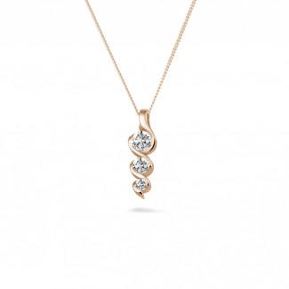 0.38 Karat Trilogie Diamantanhänger aus Rotgold