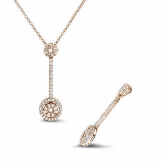 Diamantanhänger - 0.90 Karat Diamant Halo Anhänger aus Rotgold