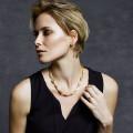 0.32 Karat diamantene Design Halskette aus Gelbgold