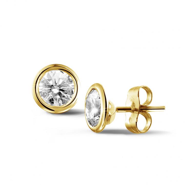 1.50 Karat Diamant Ohrringe mit Zargenfassung aus Gelbgold