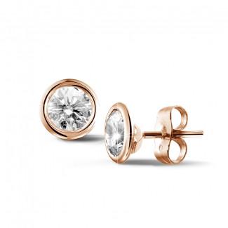 1.50 Karat diamantene Ohrringe in Zargenfassung aus Rotgold