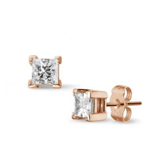 0.60 Karat diamantene Prinzessohrringe aus Rotgold