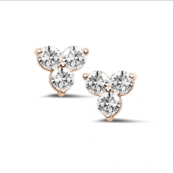 1.20 Karat diamantene Trilogie Ohrringe aus Rotgold